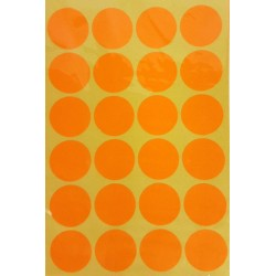 240 gommettes de ø 25mm de couleur orange clair fluo - 6865