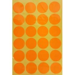 240 gommettes de ø 25mm de couleur orange clair fluo - 6865