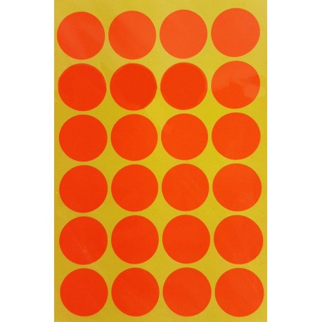 600 gommettes de ø 25mm de couleur orange foncé fluo - 6864