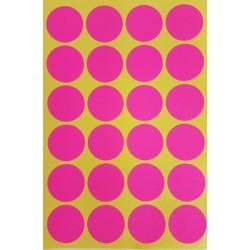 240 gommettes de ø 25mm de couleur rose fluo - 6866