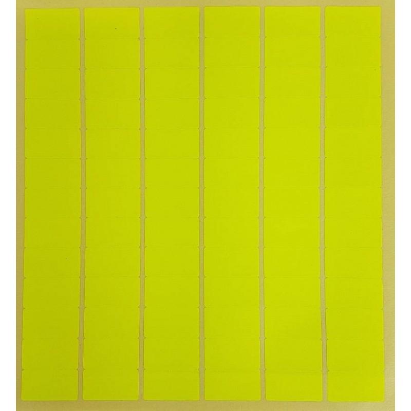 Gommettes rectangulaires jaune fluo, étiquettes jaune fluo adhésives.