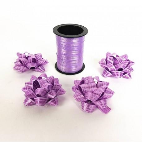 Ensemble bolduc de 10m et 4 noeuds cadeaux 5.5cm de couleur mauve - 6885