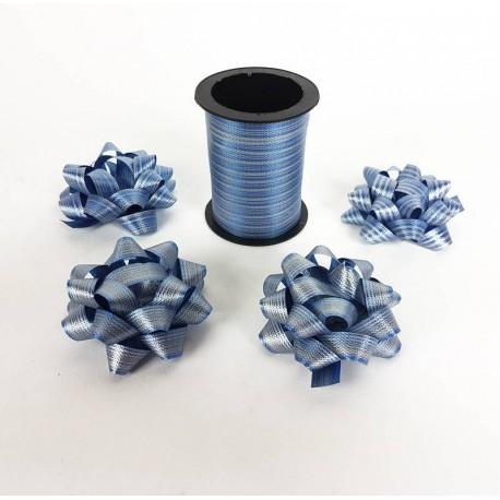 Ensemble bolduc de 10m et 4 noeuds cadeaux 5.5cm de couleur bleu bleuet - 6884