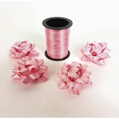 Ensemble bolduc de 10m et 4 noeuds cadeaux 5.5cm de couleur rose - 6880