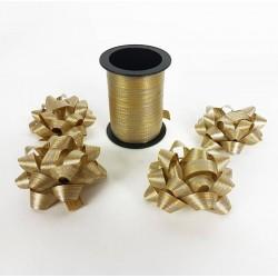 Ensemble bolduc de 10m et 4 noeuds cadeaux 5.5cm de couleur doré - 6883