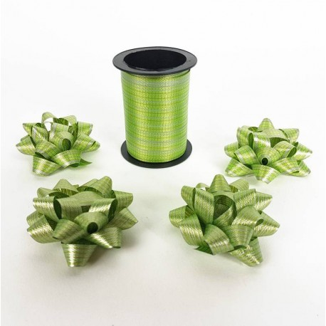Ensemble bolduc de 10m et 4 noeuds cadeaux 5.5cm de couleur vert anis - 6881