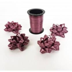 Ensemble bolduc de 10m et 4 noeuds cadeaux 5.5cm de couleur rouge pourpre - 6882