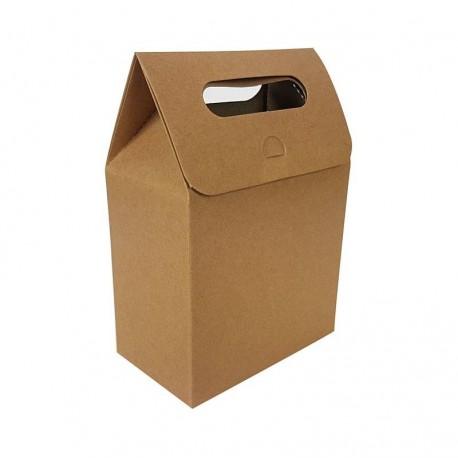 12 pochettes cadeaux à plier en kraft brun naturel 13.5x19.5x8cm - 6896
