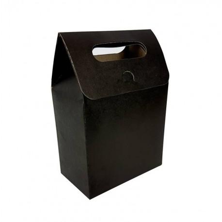 12 pochettes cadeaux à plier en kraft noir 13.5x19.5x8cm - 6898
