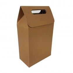 12 Grandes boîtes cadeaux à plier de couleur brun naturel 16x26.5x8.5cm - 6899