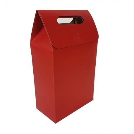 12 Grandes boîtes cadeaux à plier de couleur rouge 16x26.5x8.5cm - 6900