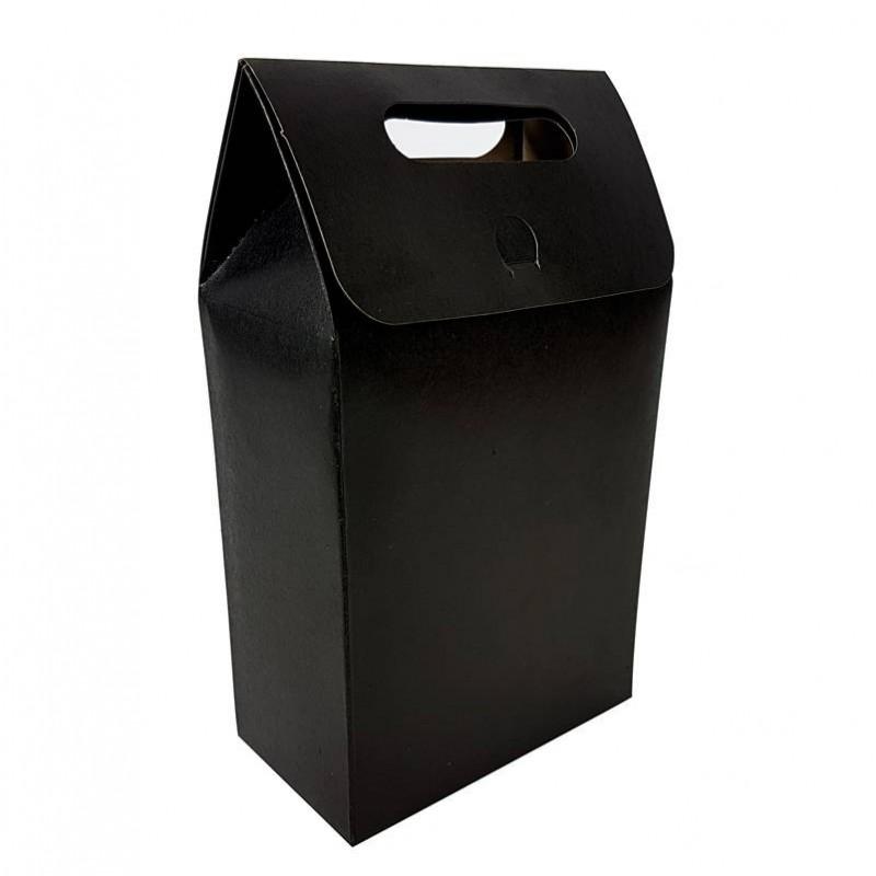 grandes bo tes cadeaux plier kraft noir emballage cartonn noir. Black Bedroom Furniture Sets. Home Design Ideas