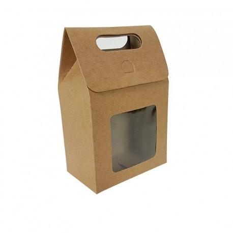 12 petites boîtes cadeaux brun naturel à fenêtre 10x15x6cm - 6902