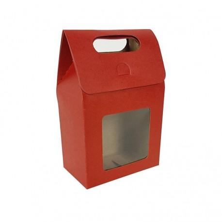 12 petites boîtes cadeaux rouges à fenêtre 10x15x6cm - 6903