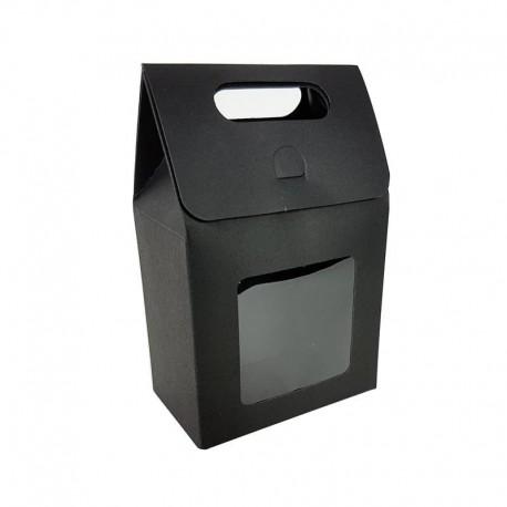 12 petites boîtes cadeaux noires à fenêtre 10x15x6cm - 6904