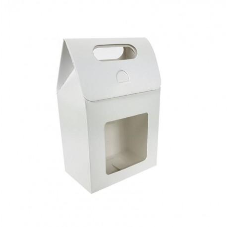 12 petites boîtes cadeaux blanches à fenêtre 10x15x6cm - 6905