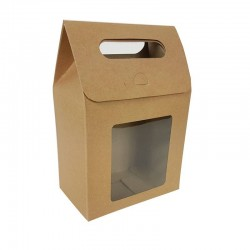 12 pochettes cadeaux kraft brun naturel à fenêtre 13.5x19.5x8cm - 6906