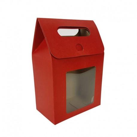 12 pochettes cadeaux kraft rouge à fenêtre 13.5x19.5x8cm - 6907
