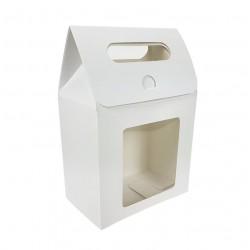 12 pochettes cadeaux kraft blanc à fenêtre 13.5x19.5x8cm - 6909