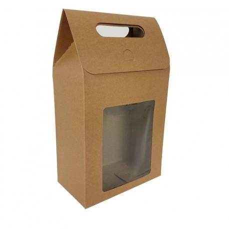 12 grandes boîtes cadeaux brun naturel à fenêtre 16x26.5x8.5cm - 6910