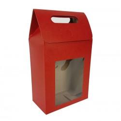 12 grandes boîtes cadeaux rouges à fenêtre 16x26.5x8.5cm - 6911