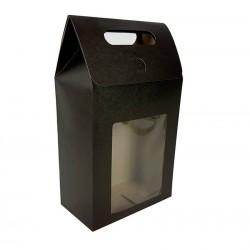 12 grandes boîtes cadeaux noires à fenêtre 16x26.5x8.5cm - 6912