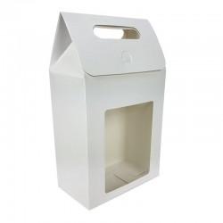 12 grandes boîtes cadeaux blanc à fenêtre 16x26.5x8.5cm - 6913