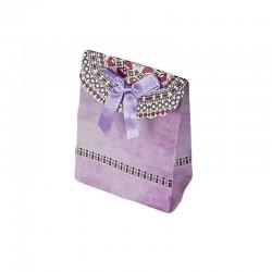 12 petites pochettes cadeaux cartonnées mauves 7.5x10x4cm - 6914