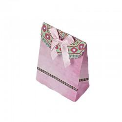 12 petites pochettes cadeaux cartonnées roses 7.5x10x4cm - 6915