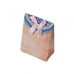 12 petites pochettes cadeaux cartonnées rose pêche 7.5x10x4cm - 6916