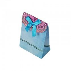 12 petites pochettes cadeaux cartonnées bleu ciel 7.5x10x4cm - 6917