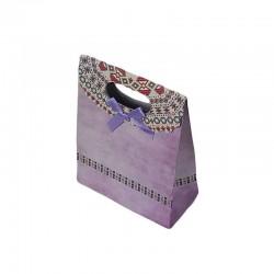 12 pochettes cadeaux cartonnées de couleur mauve 12.5x16x6cm - 6918