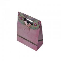 12 pochettes cadeaux cartonnées de couleur rose 12.5x16x6cm - 6919