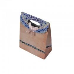 12 pochettes cadeaux cartonnées de couleur rose pêche 12.5x16x6cm - 6920
