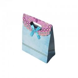 12 pochettes cadeaux cartonnées de couleur bleu ciel 12.5x16x6cm - 6921