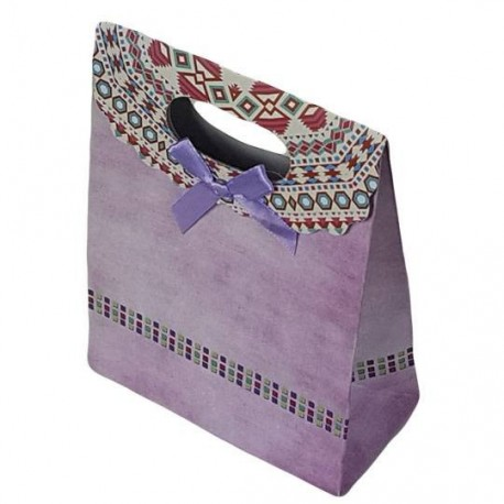 12 grandes pochettes cadeaux cartonnées mauves 24.5x31.5x11.5cm - 6926