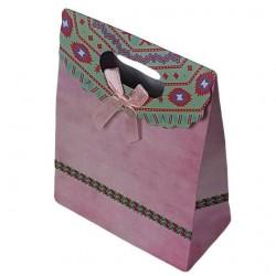 12 grandes pochettes cadeaux cartonnées roses 24.5x31.5x11.5cm - 6927