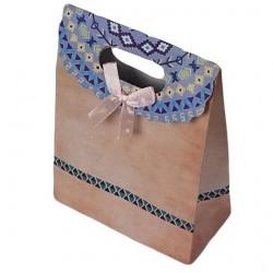 12 grandes pochettes cadeaux cartonnées rose pêche 24.5x31.5x11.5cm - 6928