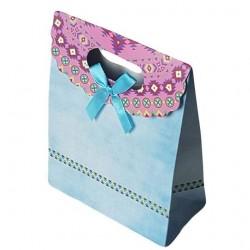12 grandes pochettes cadeaux cartonnées bleu ciel 24.5x31.5x11.5cm - 6929