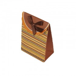 12 petites pochettes cadeaux cartonnées marron à motifs 7.5x10x4cm - 6930