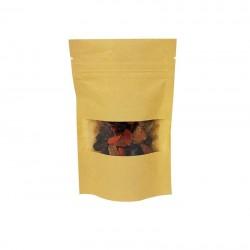 50 petits sachets zip en papier kraft à fenêtre 9x14+3cm - 6784
