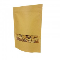 Lot de 50 sachets zip en papier kraft à fenêtre 18x26+4cm - 6789