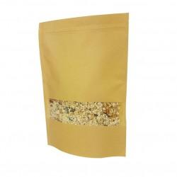 50 poches à zip en papier kraft à fenêtre 20x30+5cm - 6790