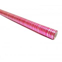 Rouleau de papier cadeaux fuchsia rayures argentées 70gr - 6962