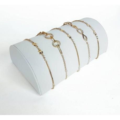 Support bracelets demi cylindre en simili cuir blanc - 6809
