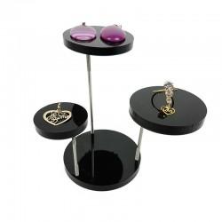 Support bijoux en acrylique noir à 3 plateaux - 6221