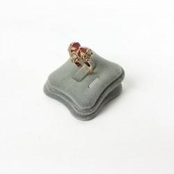 Plot bague velours gris - 4411
