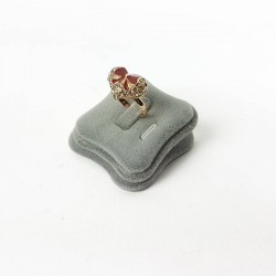 Plot bague velours gris - 4411