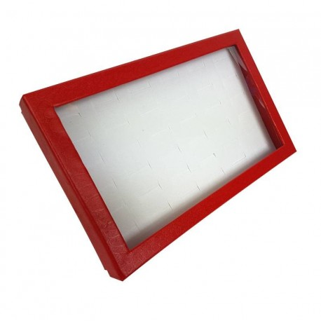 Présentoir bijoux en carton rouge pour 36 bagues - 6835