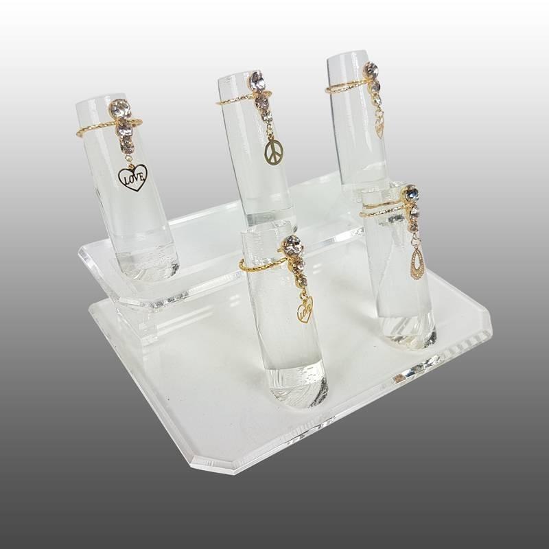 Porte Bijoux Presentoir Bague Plot c/ône en Acrylique Transparent Transparent